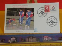 Jeux Olympiques D'Hiver (Curling) - 73 Pralognan La Valoise - 20.4.1991 FDC 1er Jour N°1738 - Coté 2,80€ - FDC