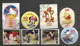 JAPAN. Tokyo Disney.  8 Timbres Oblitérés (ronds, Autocollants,etc) - Disney