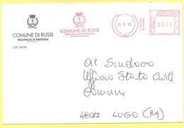 ITALIA - ITALY - ITALIE - 2002 - 000,41 EMA, Red Cancel - Comune Di Russi - Viaggiata Da Russi Per Lugo - Affrancature Meccaniche Rosse (EMA)