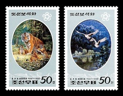 North Korea 1998 Mih. 3998/99 Fauna In Painting. Animals In The Thick Forests Of Mt. Paektu. Tigers. Birds MNH ** - Korea, North