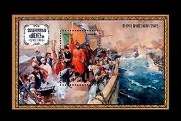 North Korea 1998 Mih. 4105 (Bl.414) Imjin Patriotic War. Painting. Naval Battle Off Hansan Islet. Ships MNH ** - Korea, North