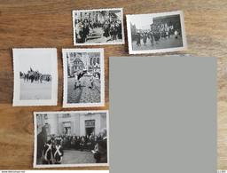 Lot 5 Anciennes Photos De Parade Pour Fête De L'Armistice Belge - Jules Messiaen - Tournai (Belgique) - Guerre, Militaire