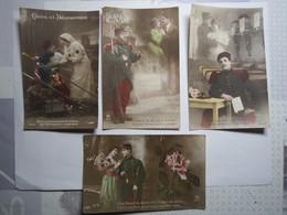 LOT DE 4 CARTES PATRIOTIQUE SOLDAT FANTAISIE MILITAIRE AMOUREUX GUERRE 14-18 - Guerra 1914-18