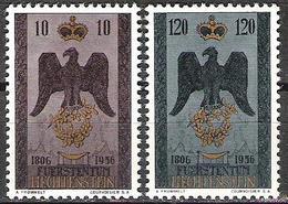 Liechtenstein 1956: Souveränität (Adler & Krone) Zu 290-291 Mi 346-7 Yv 313-4 * Falzspur MLH (Zu 2018 = CHF 20.00 - 50%) - Eagles & Birds Of Prey