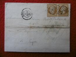 LETTRE PAIRE NAPOLEON 10 C CACHET NIMES GC 2659 VIA LYON VARIETE C POSTES 1864 - Postmark Collection (Covers)