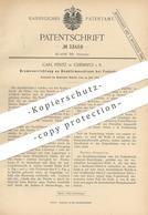Original Patent - Carl Pentz , Chemnitz | 1884 , Bremse An Doubliermaschine Bei Fadenbruch | Spinnerei !! - Historische Dokumente