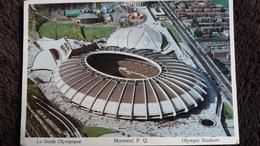 CPSM STADE OLYMPIQUE DE MONTREAL QUE CANADA 1983 TIMBRE ENLEVE - Stades