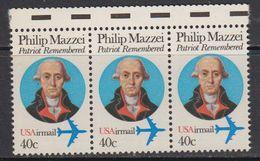 USA 1992 Philip Mazzei 1v Strrip Of 3 ** Mnh (41837B) - Verenigde Staten