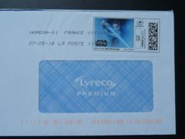 Film Star Wars Cinema Timbre En Ligne Sur Lettre (e-stamp On Cover) TPP 4098 - Kino