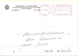 ITALIA - ITALY - ITALIE - 2002 - 000,41 EMA, Red Cancel - Comune Di Milano - Viaggiata Da Milano Per Lugo - Affrancature Meccaniche Rosse (EMA)