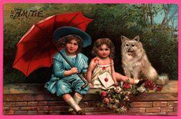 Cp Fantaisie Embossed - Gaufrée - Amitié - Fillettes - Fillette - Lettre Et Bouquet - Parapluie - Chien - Fleur - 1904 - Niños
