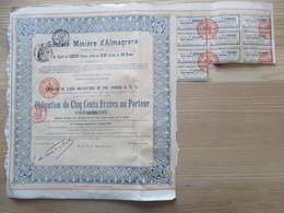 Société Minière D'Almagrera - Obligation De 5000 Fr Au Porteur - Mines