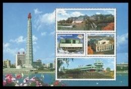 North Korea 2009 Mih. 5452/55 (Bl.722) Monumental Edifices. Restaurants. E-library. Cinema MNH ** - Korea, North
