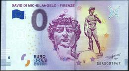 Zero - BILLET EURO O Souvenir - DAVIDE DI MICHELANGELO-FIRENZE 2018-1set UNC {Italy} - EURO