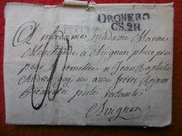 LETTRE MARQUE DRONERO ITALIE VIA AVIGNON POSTE RESTANTE 1829 - Marcophilie (Lettres)