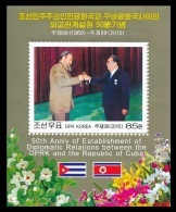 North Korea 2010 Mih. 5633 (Bl.782) Diplomatic Relations With Cuba. Kim II Sung And Fidel Castro (joint Issue) MNH ** - Korea, North