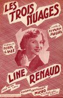 """PARTITION LINE RENAUD / LOULOU GASTE /   """" LES TROIS NUAGES """" - 1954 - EXCELLENT ETAT PROCHE DU NEUF. - Autres"""