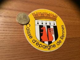 AUTOCOLLANT, Sticker «Caisse D'épargne De Rennes (35)» (écureuil, Blason Bretagne) - Autocollants