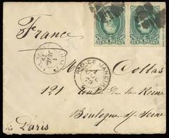 BRAZIL. 1879 (1 July). Rio J - France. Envelope Frkd D. Pedro White Beard Percés. 100rs Green Horiz Pair, Margin INSCRIP - Unclassified