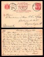 SIAM. 1890 (1 Aug). Chantaboon - Denmark. 4att Stat Card, Bangkok Cds (4 Aug) Cancelled 4 Days Later. - Siam