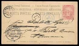"ARGENTINA. 1892. Carteros / Corrientes - Germany. 6c Stat Card Blue ""Plata / Paq. Fr Nº2"" Cds. Via Bs As. Unusual Overse - Argentina"