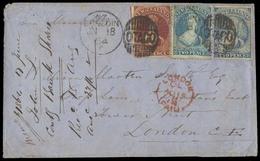 NEW ZEALAND. 1864 (June 18). Otago / Dunedin - UK. Env Frkd 2d Blue Perf + IMPERF + 6d Brown Imperf, Tied Nice Name Gril - New Zealand