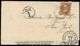 MEXICO. 1878. (1 Apr). Veracruz - USA / NY. Complete Newspaper List Frkd 1874 Issue 5c Brown. Veracruz Name, 378, Tied C - Mexique