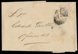 CUBA. 1871 (Apr 29). Habana Local Mail. Printed Wrapper Fkd 12a Peseta Lilac 1871 Issue, Grill Cancel. V Scarce. - Cuba