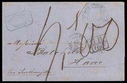 MEXICO - Stampless. 1869 (27 July). Tampico - FRANCE. Via British Mail. Sello Negro. Tampico 27 July 1869 (Schatzakes 15 - Mexique