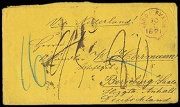 DUTCH INDIES. 1871 (30 May). Bandiermasin - Germany (23 July). Stampless Env. Via Netherlands. Several Mns Charges. - Indes Néerlandaises