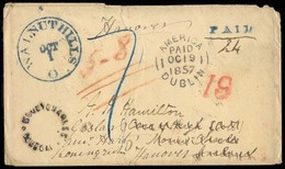 """USA. 1857 (1 Oct). Walnut Hills / Ohio - Ireland, Fwded To Germany. Stampless Env, Depart Blue Cds + Paid, Blue """"AMERICA - United States"""