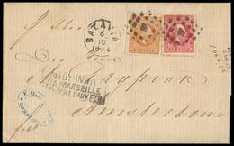"""DUTCH INDIES. 1876 (6 Oct). Batavia - Netherlands. EL Full Text Fkd 10c + 50c Red, Tied """"4"""" Dots + Cds Alongside. Via Ma - Indes Néerlandaises"""