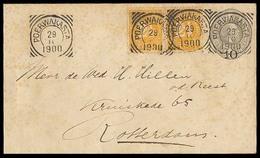 DUTCH INDIES. 1900 (29 Oct). Poer Wakarta - Netherlands. 10c / 12 1/2c Grey Stat Env + 2 Adtls / Cds (xxx), Superb Pmk S - Indes Néerlandaises