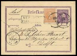 "DUTCH INDIES. 1877 (10 July). Batavia - Deft. 5c Stat Card + 10c Adtl / Cds + Boxed ""Ned Indies / Via Marseille"". VF. - Indes Néerlandaises"
