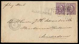 """DUTCH INDIES. 1886 (24 April). Weltevreden - Netherlands / Amsterdam.  25 Lilac Stat Env + 25c Adtl Tied """"FRANCO"""" Box + - Indes Néerlandaises"""