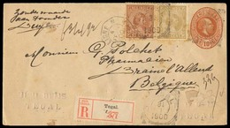 DUTCH INDIES. 1900 (31 Jan). Tegal - Belgium. 10c Stat King Env + 2 Adtls. Queen W, Tied Cds + French Octagonal Pqbt Lig - Indes Néerlandaises