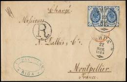 LATVIA. 1885 (22 Jan). Riga - France. Registered EL Fkd Russia 7l Light Shiny Blue Pair / Cds. XF Lovely Fresh Item. - Lettonia