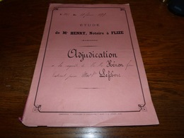 Etude Notaire Me Henry à Flize Adjudication Familles Henon Lefebvre 1899 - Documents Historiques