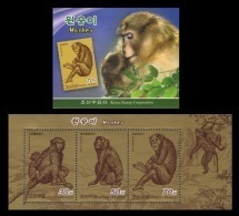 North Korea 2016 Mih. 6321/23 Fauna. Monkey (booklet) MNH ** - Korea (Nord-)