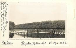 Themes Div-ref AA04- Photo Sur Support Cartonné Format Carte Postale 14cms X 9cms -melun -seine Et Marne -aviron -1933- - Aviron