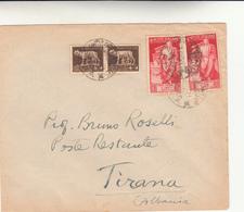 Vie Di Mare, Motonave Zara, Cover Per Tirana. Albania. Poste Restante Anno 1937 - 1900-44 Vittorio Emanuele III