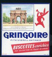BUVARD:  BISCOTTES GRINGOIRE - PITHIVIERS EN GATINAIS - L'ARC DE TRIOMPHE  DU CARROUSEL - Biscottes