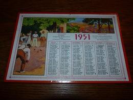 Calendrier Cartonné 1951 Belle Illustration Joueurs De Pétanque 22x15cm - Calendriers