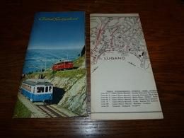Folder Touristique Suisse Lucerne Plan De Lugano Train Télésiège (bien Lire Mes Conditions De Vente Pour Envoi Suisse - Vieux Papiers