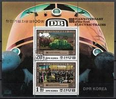 DPR Korea 1980 Sc. 2005a Electric Train Centenary Steam Locomotives Sheet Perf. CTO - Corea Del Nord