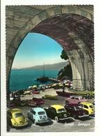 """2596 """" ZOAGLI - SPIAGGIA -FIAT 600,110-VW MAGGIOLINO,BARCHE E PILOTINA """" CARTOLINA POSTALE ORIGINALE SPEDITA - Other Cities"""