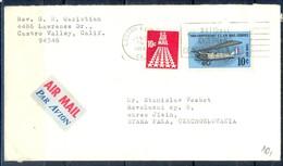 K20- USA United States Postal History Cover. Post To Czechoslovakia. 50 Anniv  U.S Air Mail Service. - Postal History