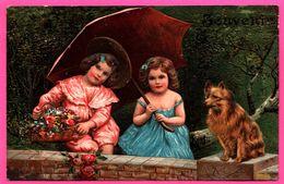 Cp Fantaisie Embossed - Gaufrée - Souvenir - Fillettes - Fillette - Parapluie - Chien - Fleur - 1908 - Felicitaciones (Fiestas)