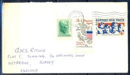 K28- USA United States Postal History Cover. Post To U.K. England. Youth. Flag. - Postal History