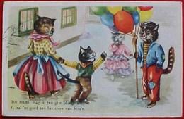 Cpa Chat Humanisé , PETITS CHATS  Et MARCHAND De BALLONS, 1954. Dressed Cat & Kitten BALLS DEALER . KATZE . YAN LEER - Chats
